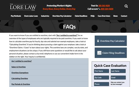 Screenshot of FAQ Page overtime-flsa.com - Frequently Asked Questions About Overtime Pay & the FLSA - captured Oct. 26, 2018
