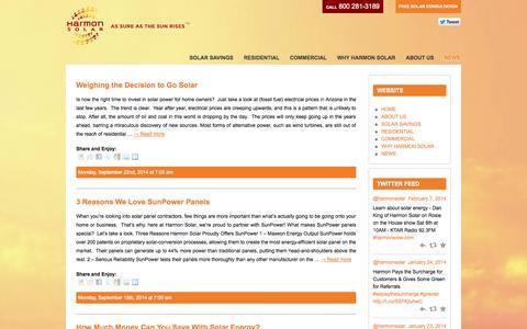 Screenshot of Press Page harmonsolar.com - Arizona's Top Solar Panel Installation News - Harmon Solar - captured Oct. 4, 2014