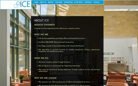 Screenshot of About Page icesd.com - About ICE - Highly Effective Commercial Furniture Solutions - San Diego, California - captured Nov. 19, 2015