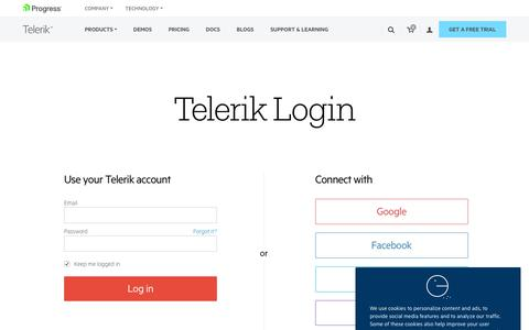 Screenshot of Login Page telerik.com - Telerik Client Login - captured Nov. 29, 2018