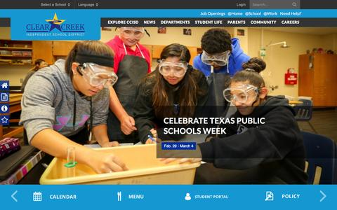Screenshot of Home Page ccisd.net - Home - Clear Creek - captured March 4, 2016