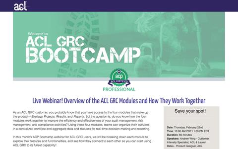 Screenshot of Landing Page acl.com - Overview of the ACL GRC Modules and How They Work Together - captured March 4, 2018