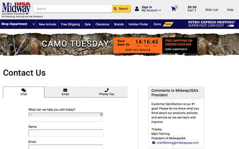 Screenshot of Contact Page midwayusa.com - Contact Us - MidwayUSA - captured Sept. 3, 2019