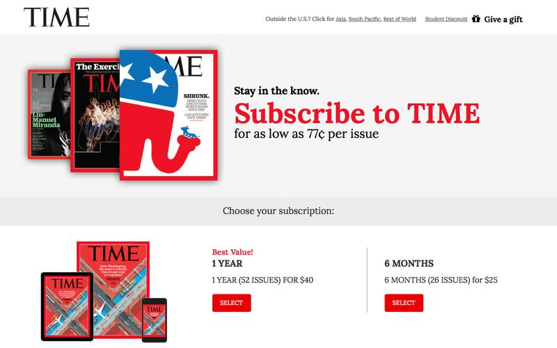 Time Magazine Subscription Offer