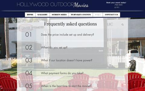 Screenshot of FAQ Page hollywoodoutdoormovies.com - Outdoor Movies Copy1 | FAQ's - captured Sept. 29, 2018