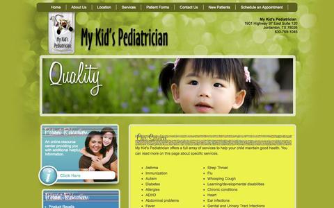 Screenshot of Services Page mykidspediatrician.com - Our Services - My Kid's Pediatrician - Pediatrics Jourdanton, TX - captured Oct. 7, 2014