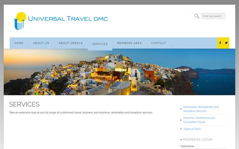 Screenshot of Services Page universaltravel.gr - SERVICES | Universal Travel - captured Oct. 26, 2014