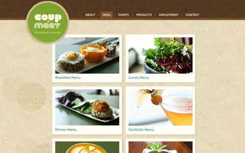 Screenshot of Menu Page thecoup.ca - Breakfast, Lunch, Dinner Menu | The Coup + Meet Restaurant & Lounge - captured Oct. 26, 2014