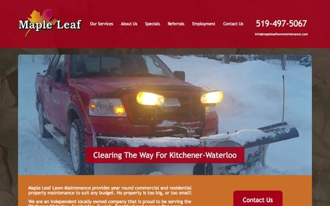 Screenshot of Home Page mapleleaflawnmaintenance.com - Home - Maple Leaf Lawn Maintenance - Kitchener Lawn Maintenance - captured Sept. 26, 2014