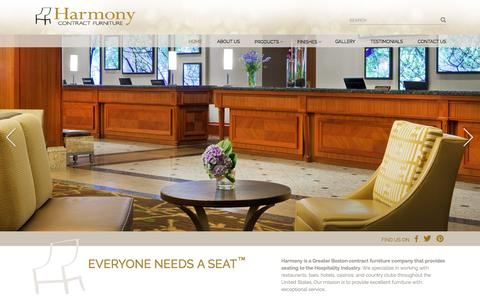 Screenshot of Home Page harmonycontract.com - Restaurant and Hospitality Furniture, Boston MA - captured June 23, 2015