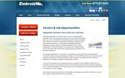 Screenshot of Jobs Page embroidme.com - Custom uniforms, Logo t shirt,Careers, Job Opportunities - captured Oct. 22, 2014