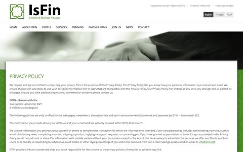 Screenshot of Privacy Page isfin.net - Privacy policy | IsFin Global - captured May 28, 2017