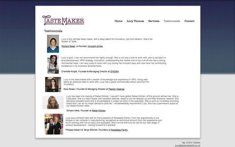 Screenshot of Testimonials Page tastemakerltd.co.uk - Testimonials - tastemakerltd - captured Oct. 7, 2014