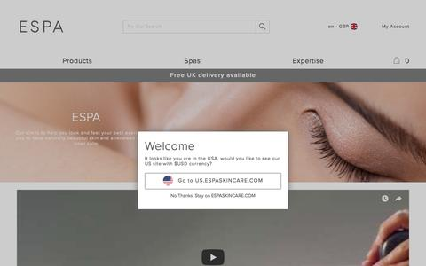 Screenshot of About Page espaskincare.com - Our Philosophy | About Us | ESPA - captured Sept. 22, 2017