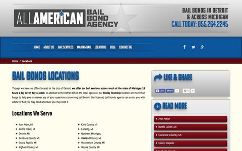 Screenshot of Locations Page freebailnow.com - Locations | All American Bail Bond Agency - captured Feb. 5, 2016