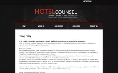 Screenshot of Privacy Page hotelcounsel.com - Hotel Counsel Hospitality Consulting Firm Privacy Policy - captured Sept. 30, 2014