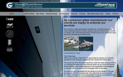 Screenshot of Testimonials Page durashieldmarine.com - Glass Manufacturer | United States | DuraShield Marine - captured Oct. 5, 2014