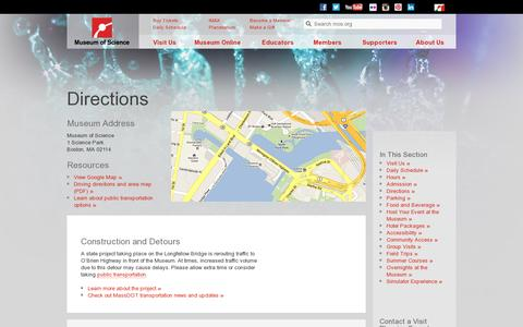 Screenshot of Maps & Directions Page mos.org - Directions | Museum of Science, Boston - captured July 20, 2014