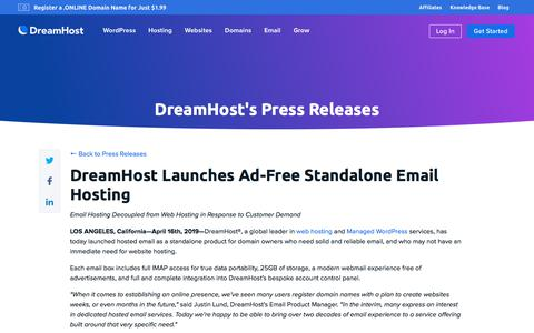 Screenshot of Press Page dreamhost.com - DreamHost Launches Ad-Free Standalone Email Hosting  – DreamHost - captured Feb. 21, 2020
