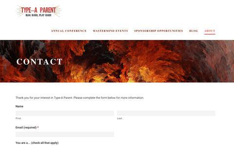 Screenshot of Contact Page typeaparent.com - Contact - Type-A Parent - captured Oct. 28, 2017
