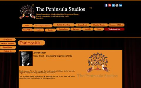 Screenshot of Testimonials Page thepeninsulastudios.com - thepeninsulastudios | Testimonials - captured June 15, 2017