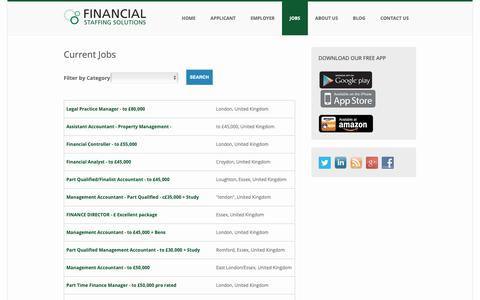 Screenshot of Jobs Page staffingsolutions.co.uk - See the current jobs at Financial Staffing Solutions - captured Oct. 10, 2018