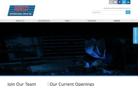 Screenshot of Jobs Page rekointl.com - Careers   Reko International Group Inc. - captured Nov. 30, 2016