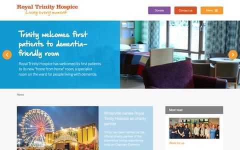 Screenshot of Press Page royaltrinityhospice.london - Royal Trinity Hospice | News - captured Nov. 13, 2017