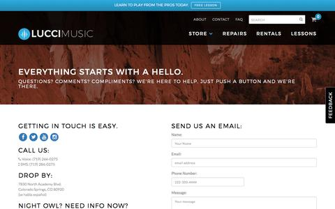 Screenshot of Contact Page luccimusic.com - Contact Us – Lucci Music - captured Nov. 13, 2016