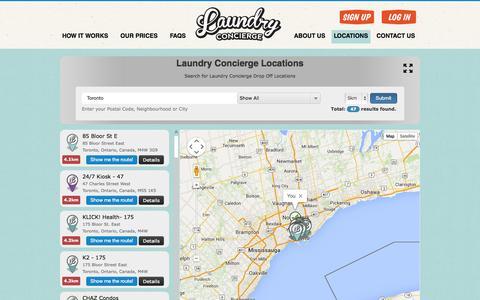 Screenshot of Locations Page laundry-concierge.com - Laundry Concierge - captured Sept. 29, 2014