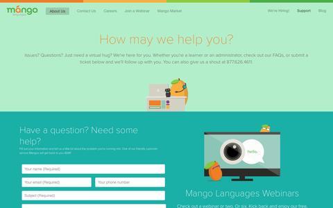 Screenshot of FAQ Page Support Page mangolanguages.com - Mango Languages support - captured Nov. 20, 2015