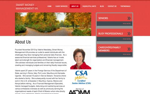 Screenshot of About Page smartmoneymgt-va.com - Daily Money Management | AADMM | Busy Professionals & Seniors | Smartmoney-management - captured Oct. 7, 2014