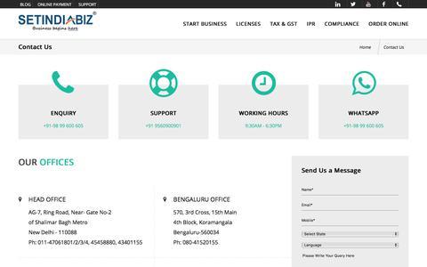 Screenshot of Contact Page setindiabiz.com - Contact Us for Company Registration & its Compliance - Setindiabiz - captured July 31, 2019