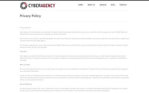 Screenshot of Privacy Page cyberagency.com - Privacy Policy - Cyber Agency - captured Sept. 30, 2014