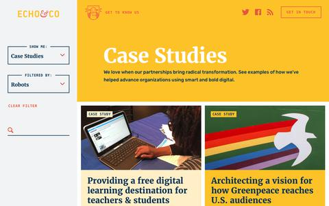 Screenshot of Case Studies Page echo.co - Case Studies | Echo&Co - captured June 27, 2017