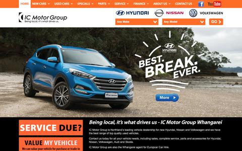 Screenshot of Home Page icmotorgroup.co.nz - IC Motor Group is Northland's leading vehicle dealership for new Hyundai, Nissan, Volkswagen and a wide range of top quality used vehicles in Whangarei. - captured Nov. 5, 2018