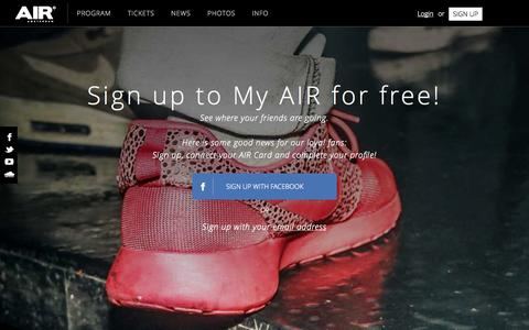 Screenshot of Signup Page air.nl - Sign up - AIR - Night Club Amsterdam - captured Nov. 2, 2014