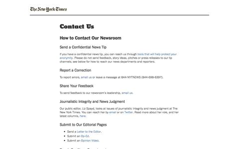 Contact Us - New York Times