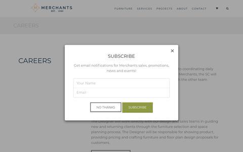 Screenshot of Jobs Page merchantsofficefurniture.com - Careers - captured Sept. 20, 2018