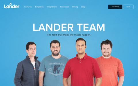 Screenshot of Team Page landerapp.com - Lander Team: The folks that make the magic happen - captured Feb. 20, 2016