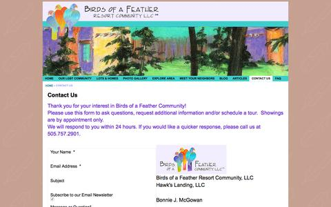 Screenshot of Contact Page birdsofafeather.com - Birds of a Feather - Contact Us - captured Feb. 7, 2016