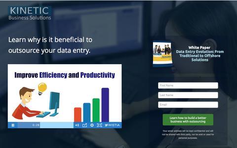 Screenshot of Landing Page kineticbusinesssolutions.com - Data Entry Solutions - captured July 22, 2016