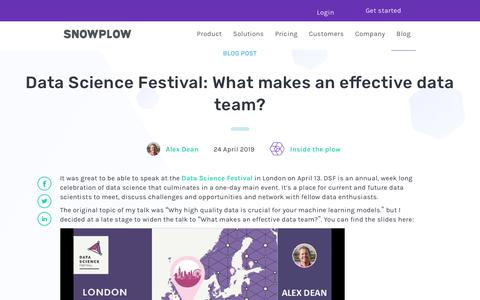 Screenshot of Team Page snowplowanalytics.com - Data Science Festival: What makes an effective data team? - captured Feb. 10, 2020