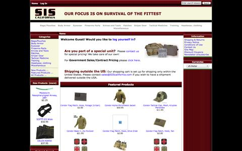 Screenshot of Products Page siscalifornia.com - SIScalifornia, Survival of the Fittest - captured Sept. 30, 2014