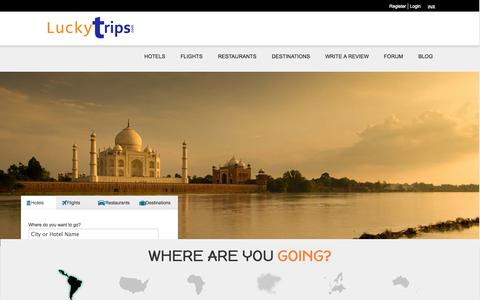 Screenshot of Home Page luckytrips.com - Best Holiday Destination, Trip guides review, perfect Tour Advisor review, Tourism advisor, Travel advisor review,Flights, Hotels, Restaurants | Lucky Trips - captured Sept. 22, 2014