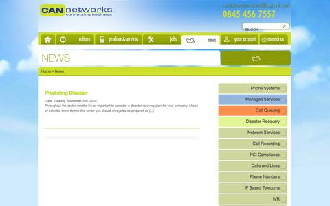 Screenshot of Press Page can-networks.com - News | CAN Networks | VOIP Phone Systems | Network Solutions - captured Sept. 26, 2014