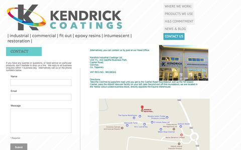 Screenshot of Contact Page kendrickcoatings.ie - CONTACT US - Kendrick Industrial Coatings Ltd. - captured Oct. 15, 2018