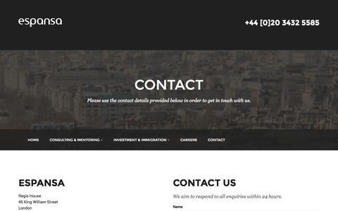 Screenshot of Contact Page espansa.com - Contact - Espansa - captured Sept. 30, 2014