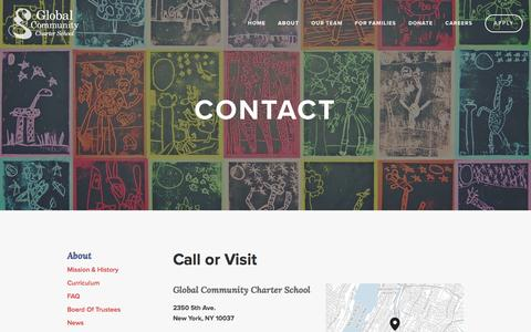 Screenshot of Contact Page globalcommunitycs.org - Contact — Global Community Charter School - captured Jan. 29, 2016