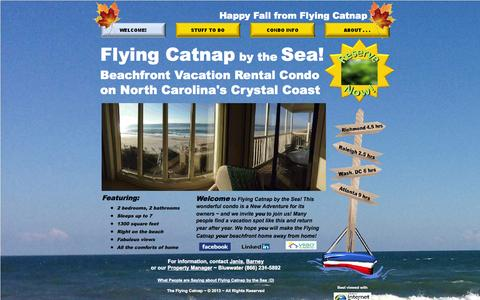 Screenshot of Home Page flyingcatnap.com - Flying Catnap by the Sea: Beachfront Vacation Rental Condo in NC - captured Oct. 6, 2014